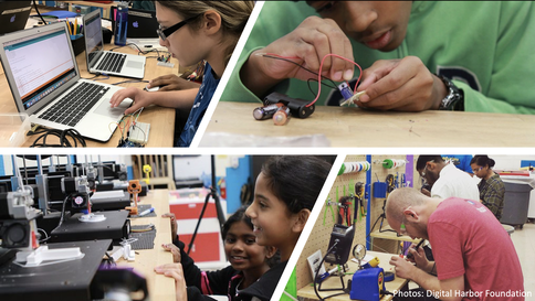 several collages showing youth tinkering with 3D printers, a laptop and several hands-on electronic components.